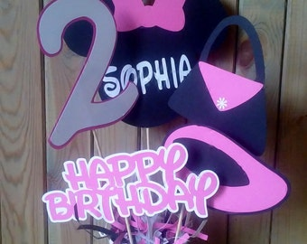 Minnie Mouse Centerpiece - personalized - party supplies - decorations