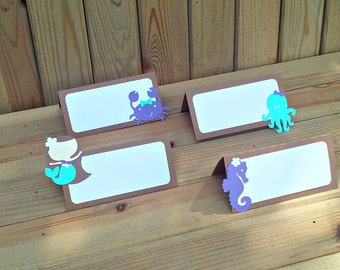 Mermaid Place Cards - food tents - under the sea party - food labels - party decor - girl birthday