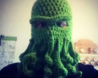Crochet PATTERN balaclava sea monster Cthulhu inspired, crochet pattern for octopus tentacle hat