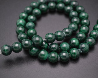 4mm~12mm Good quality Natural Malachite Stone Smooth Round Beads DIY Jewelry making supplies