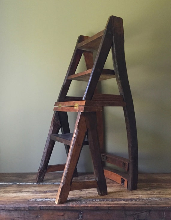 Reserved Layaway Rustic Reclaimed Wood Chair Step Ladder