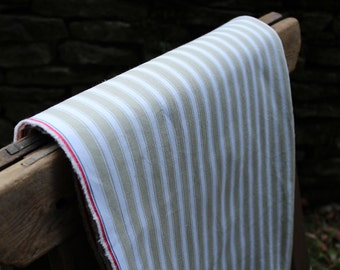 French Ticking. Vintage. Beautiful Woven Stripes in Sage & Cream. Measurements - 2.2m x 1.3m