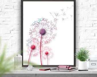 Dandelion Poster Watercolour Art  Home Decor Dandelion Art Print Wall Decor Instant Download Wall Poster Home & Living Housewares Typography