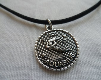 Aquarius choker,zodiac jewelry,Aquarius necklace, zodiac,star sign,astrology,black choker,choker necklace,birth sign,birthday