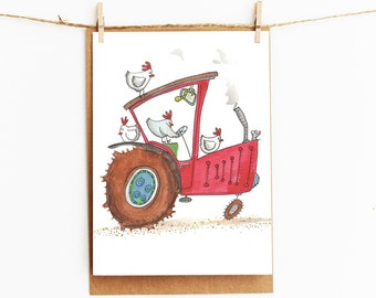 chickens on tractor  - childrens greeting card - 106 x145 mm