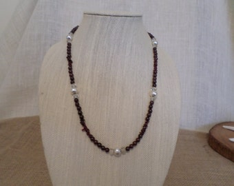 23 inch long garnet necklace with  silver filled beads