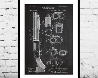 Browning Magazine Firearm, Gun Poster, Browning Magazine Firearm Patent, Browning Magazine Firearm Print, Gun poster, Gun Print, Gun Decor