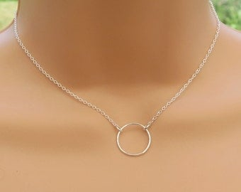 Sterling Silver Circle Necklace, Silver Eternity Necklace, Simple Circle Pendant, Dainty Necklace, Karma Necklace