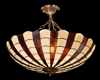 Vintage Tiffany lightning, Stained glass ceiling lampshade. Big lamp fixture. Handmade stained glass lampshade.