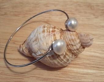 real fresh water pearl silver bracelet