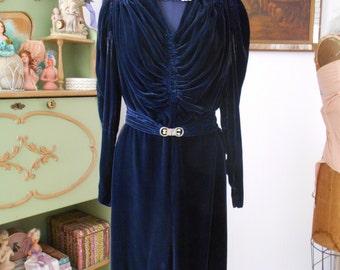 1930's Silk Velvet Dark Blue Dress Hollywood Glamour