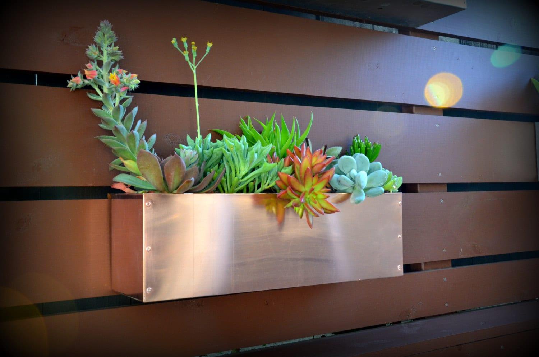 copper hanging planter box horizontal fence planter - 🔎zoom