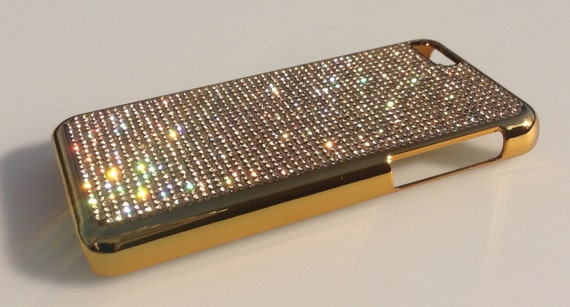 iPhone 5C Gold Topaz Rhinestone Crystals on Gold-Bronze Case. Velvet/Silk Pouch Bag Included, Genuine Rangsee Crystal Cases.