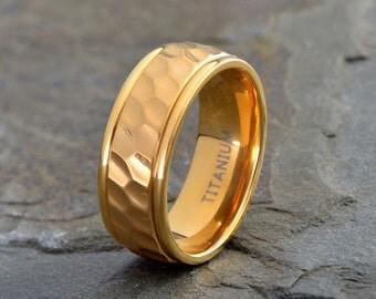 Titanium Wedding Band, Yellow Gold Plated Brushed Ring, His, Hers,Titanium Anniversary Rings, Bands, Custom Titanium Rings