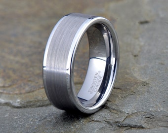 Brushed Tungsten Ring, Mens Women's Tungsten Wedding Band, Polished Edge, 8mm, Comfort fit, Tungsten Carbide, Brushed Tungsten Carbide Ring