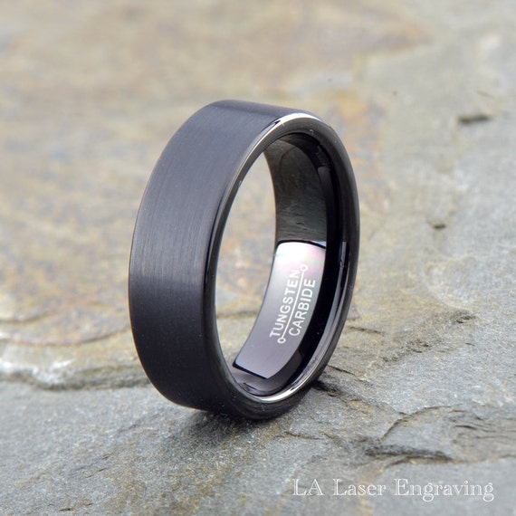 Black brushed tungsten wedding band 7mm mens by for Tungsten wedding ring reviews