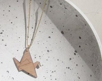ORIGAMI crane - cherry - Necklace (long) brass -