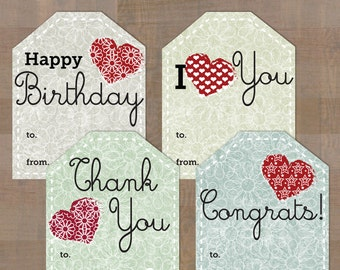 Gift Tags / Birthday / Thank you / I Love You / Congrats! / Instant Downloads
