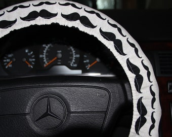 Mustache Cover Wheel.  Steering Wheel Cover .  Beige with  Black Mustache wheel cover - Car Accessories.