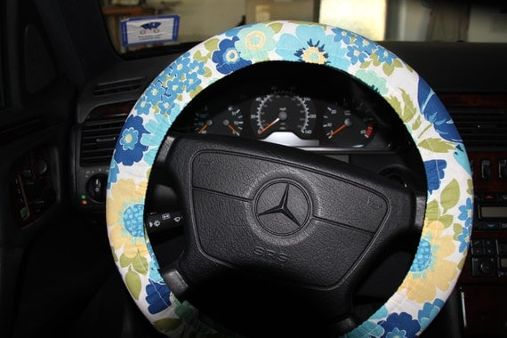 White And Blue Floral Steering Wheel Cover Women S Wheel