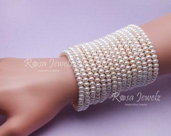 Genuine Fresh water pearl stretch bracelet,  elastic bracelet, everyday bracelet, bridal bracelet,  bridesmate bracelet  515a 515b