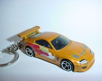 3D Toyota Supra turbo custom keychain keyring key chain from Fast and the Furious movie bronze color version