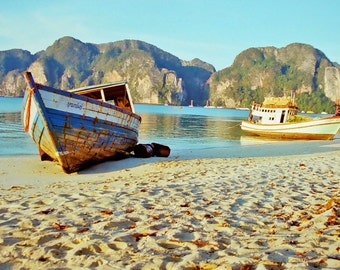 Koh Pi Pi Isalnd Thailand, Fishing boats Thailand, Thailand beach photography, early morning fishing