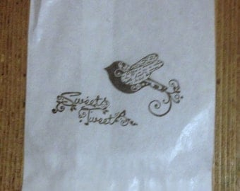 25 x White Paper lolly Sweet Candy Bag - Hand Stamped Sweet Tweet Bag