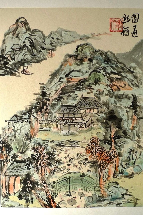 Japanese antique woodblock print, Tomioka Tessai, Large size.