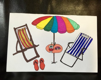 Beach Umbrella and Chairs HandMade Greeting Card