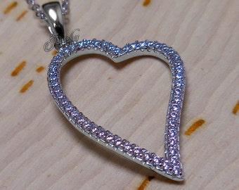 Swarovski Crystal .925 Silver Hollow Heart Necklace