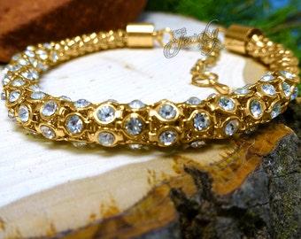 Gold Swarovski Crystal Popcorn Bracelet