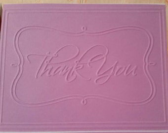 3 Piece Embossed Thank You Card Set Purple Pink Fuchsia with Envelope Simple Clean
