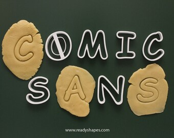 comic sans upper case font alphabet cookie cutter set 3d printed font cookie cutter fondant letters cookie cutter comic sans cookie
