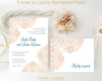 Personalised wedding Invitation set printed on luxury shimmer paper | Printed wedding invitations with RSVP postcards | Cheap wedding sets