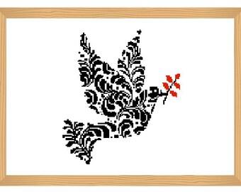 dove cross stitch pattern, ornamental, silhouette pattern, bird, dove pattern, bird pattern, abstract, black and red, modern cross stitch