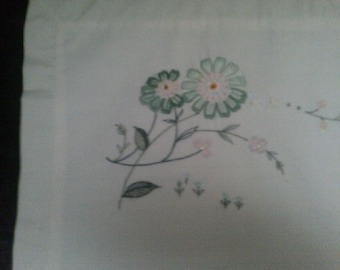 Cushion Covers  Unbleached Linen Green Daisies