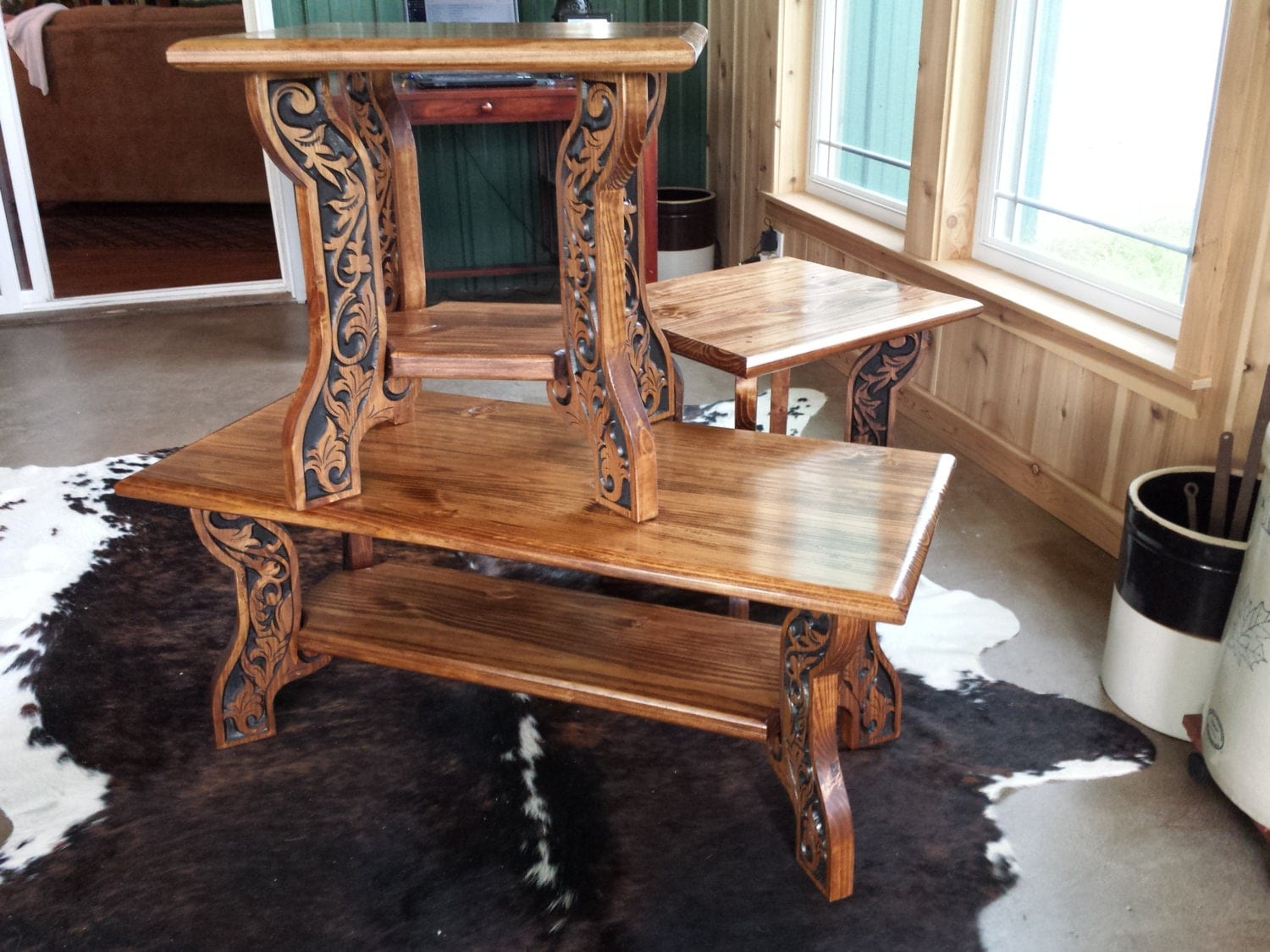 Western Style Coffee And End Tables Carved Wood Features Country Farmhouse  Or Ranch Decor Hand Painted And Finished Original Design Made USA