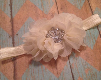 Rhinestone Crown Ivory Headband