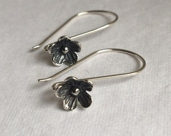 Ear Wire Flower Blossom French Ear Wire Earring Bali French Hook Oxidized Sterling Silver One Pair FB1038