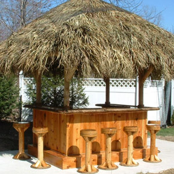 Tiki bar 8 39 x 6 39 custom red cedar tiki kev tiki bar for Garden hut sale