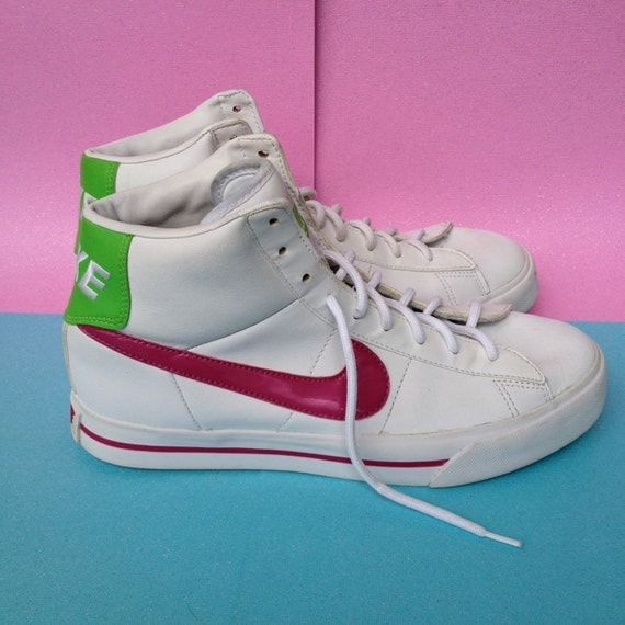 y2k lime green and pink white nike swoosh high top sneakers