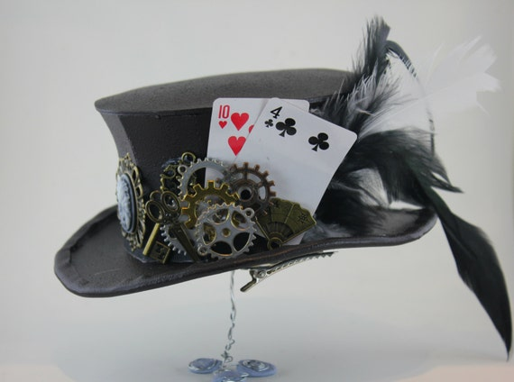 Steampunk Cogs/Gears/Playing Cards - Mini Top Hat steampunk buy now online