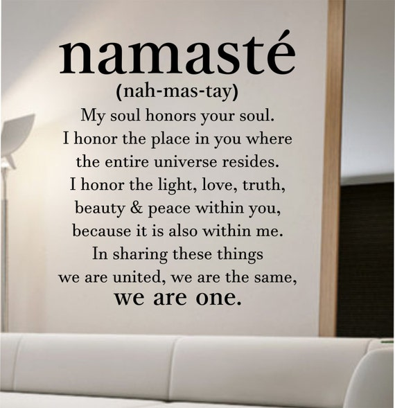 Namaste definition quote wall decal namaste vinyl sticker art for Definition for mural