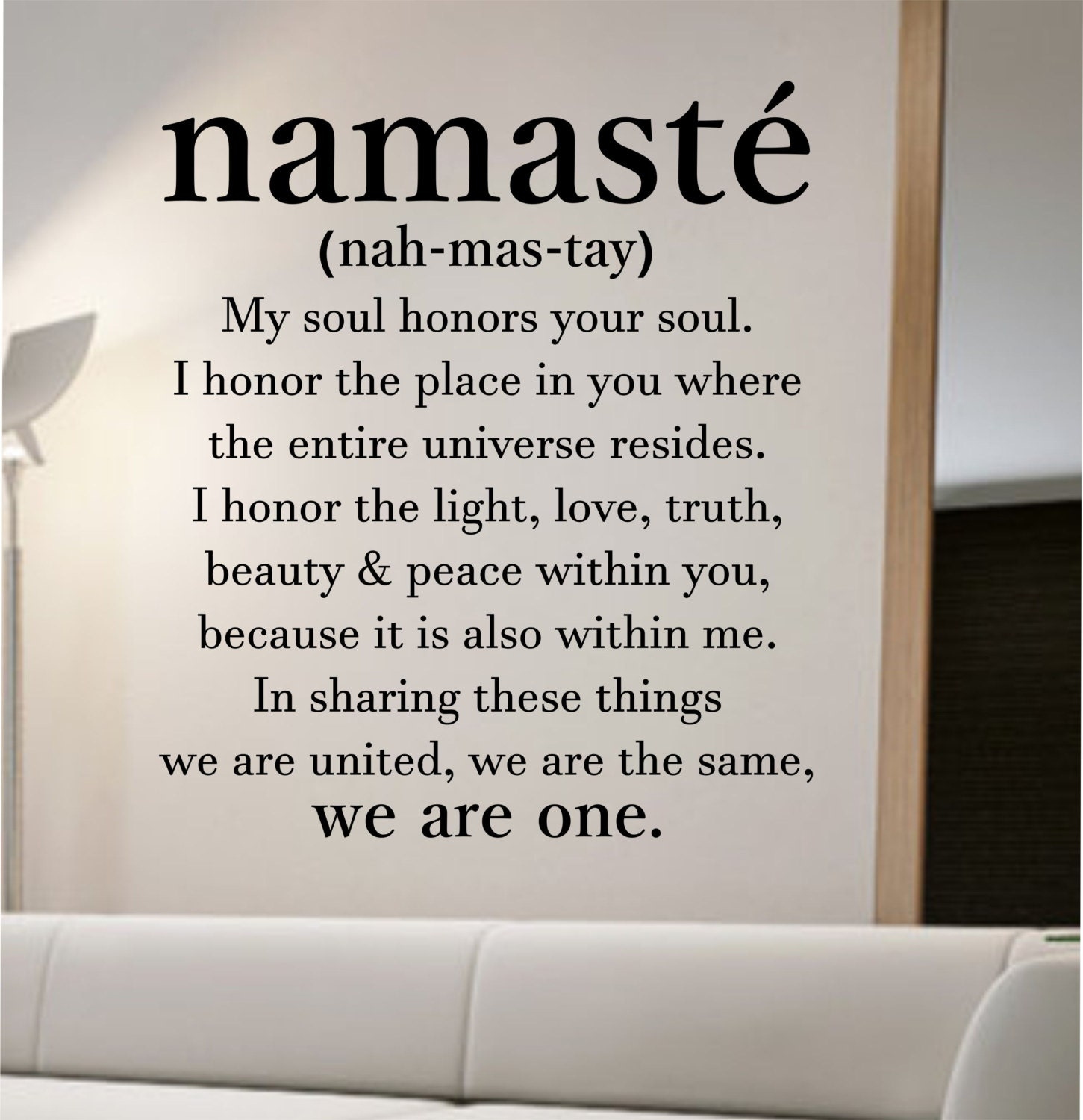 Define Quote: Namaste Definition Quote Wall Decal Namaste Vinyl Sticker Art
