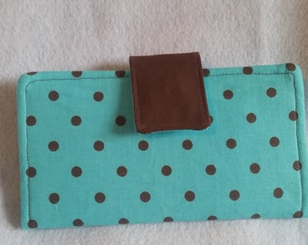 Teal & Brown Polka-Dotted Wallet