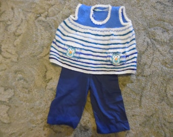 Blue Stripey Owl Dress - a sleeveless, stripey dress with owls on the pockets to fit a child aged 3-6 months