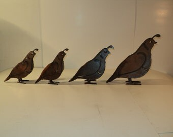 Metal Quail Yard Art Set of 4 - Daddy, Mommy and Chicks
