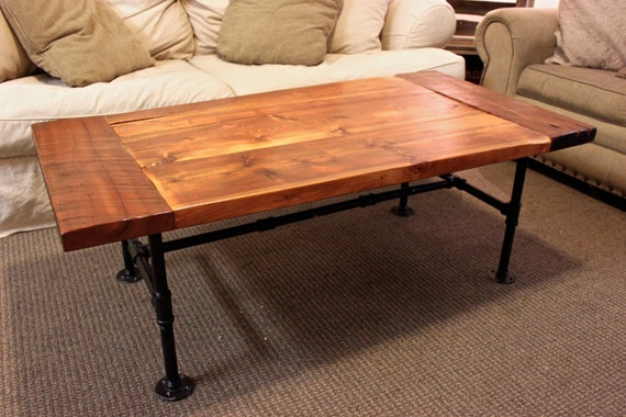 SOLD Reclaimed Wood Oak and Cherry Coffee Table with Steel Pipe Base
