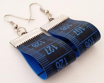 Tape Measure Earrings Upcycled Earrings Recycled Earrings Blue Earrings Hipster Earrings Dressmaker Earrings Dressmaker Gift Designer Gift